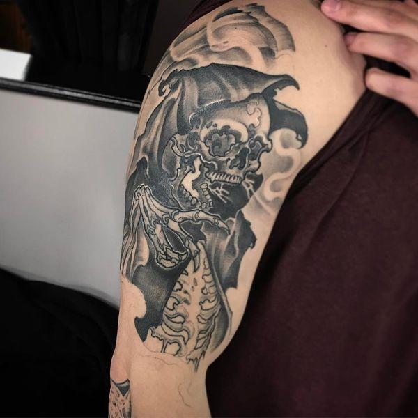 Татуировка жнеца в капюшоне