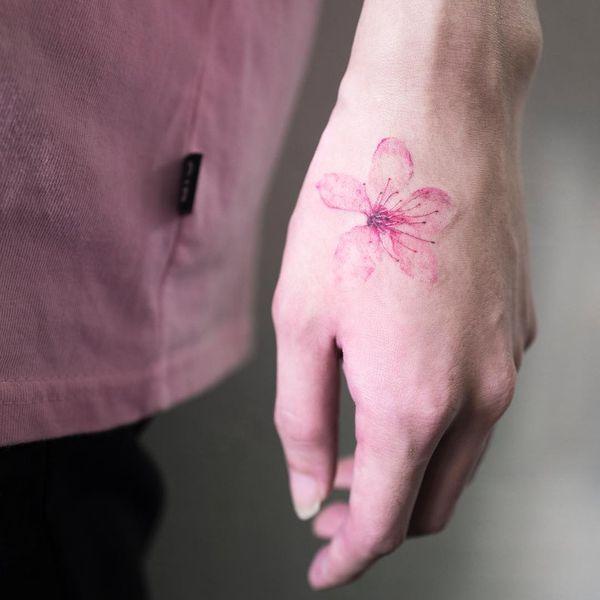 Нежная акварельная татуировка сакуры на кисти