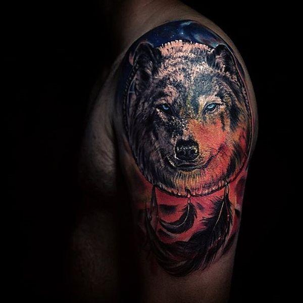 Татуировка на полу рукава Rad Wolf Dreamcatcher