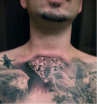 тату алмаз с птицами